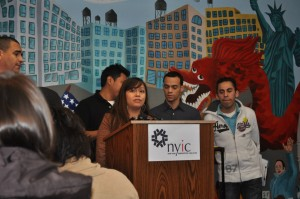Deycy Avitia of the New York Immigration Coalition spoke at the press conference