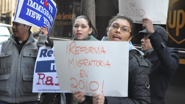 Participants in the road trip and their supporters held a rally in front of the New York Immigration Coalition's office