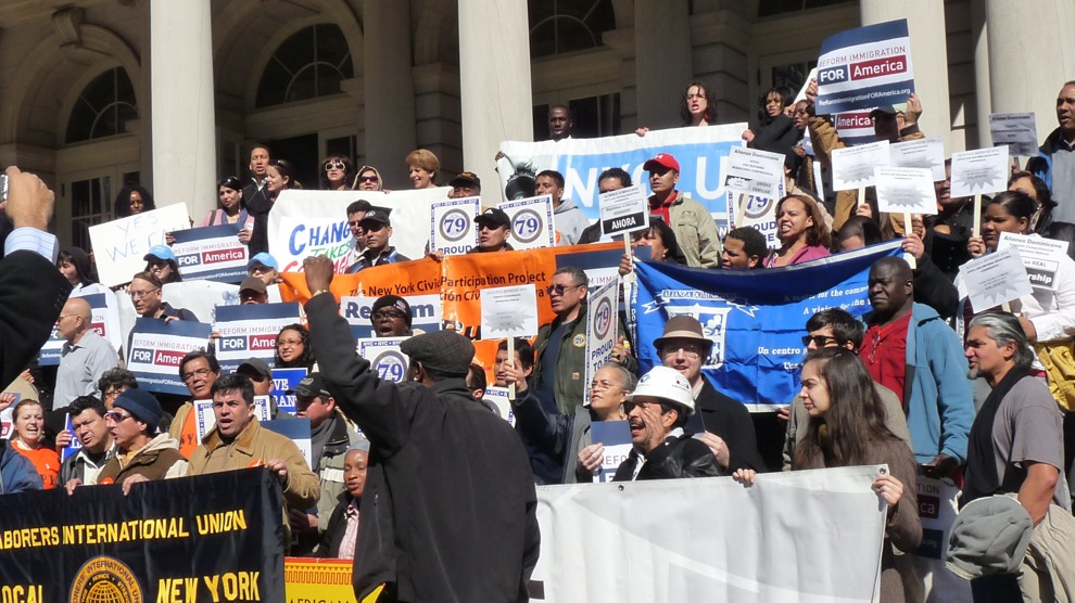 Protesters called for immigration reform in front of City Hall in New York. Image by Elissa Lerner.