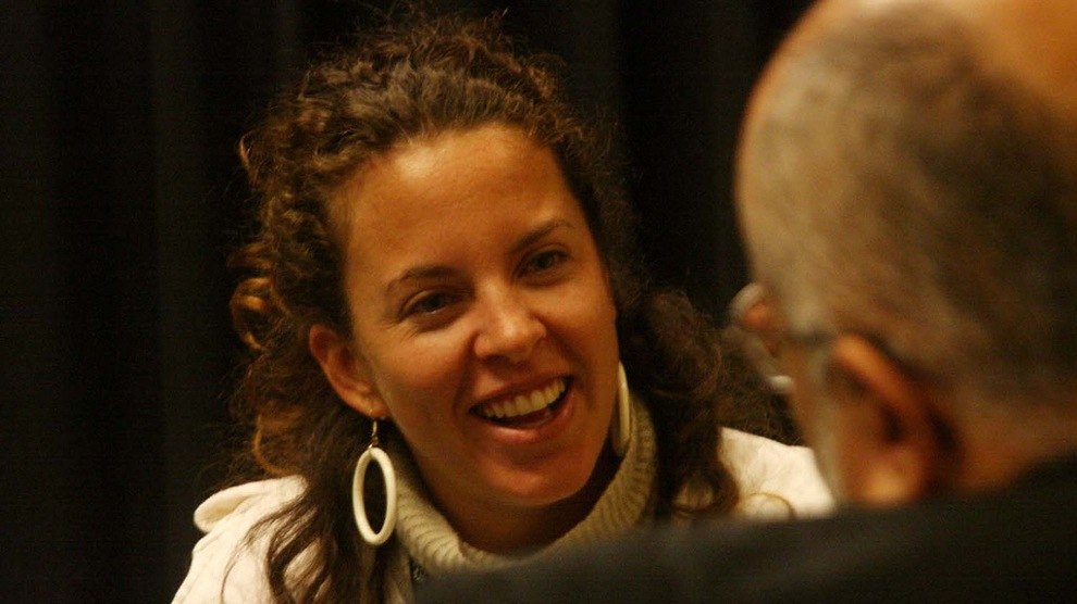 Director Claudia Llosa in an interview at the Festival de Lima, 2007.
