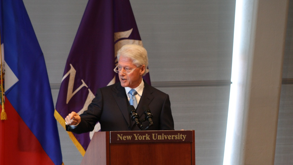 U.N. Special Envoy to Haiti Bill Clinton speaks to civil society organizations at New York University. Photo by Roque Planas.