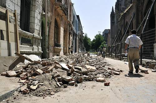 Damage from the earthquake in Santiago, Chile.