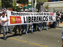 Protesters demand the release of hostages held by the FARC in a march in Bogotá, Colombia on Feb. 4, 2008.
