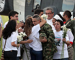 Pablo Moncayo greets his family on Tuesday after being relased by the FARC, who held him hostage for 12 years.