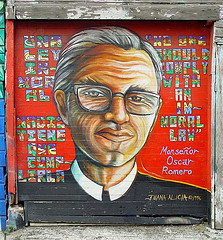 A mural of Monseñor by Juana Alicia in San Francisco, painted in 1996.