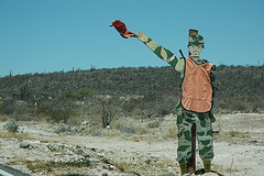 A sign of a soldier indicates a checkpoint for drug inspection, Baja California Sur, Mexico.