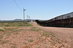 U.S. border wall in Neco, Arizona.