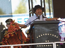 Bolivian President Evo Morales spoke at the World People's Conference on Climate Change and the Rights of Mother Earth in Cochabamba.