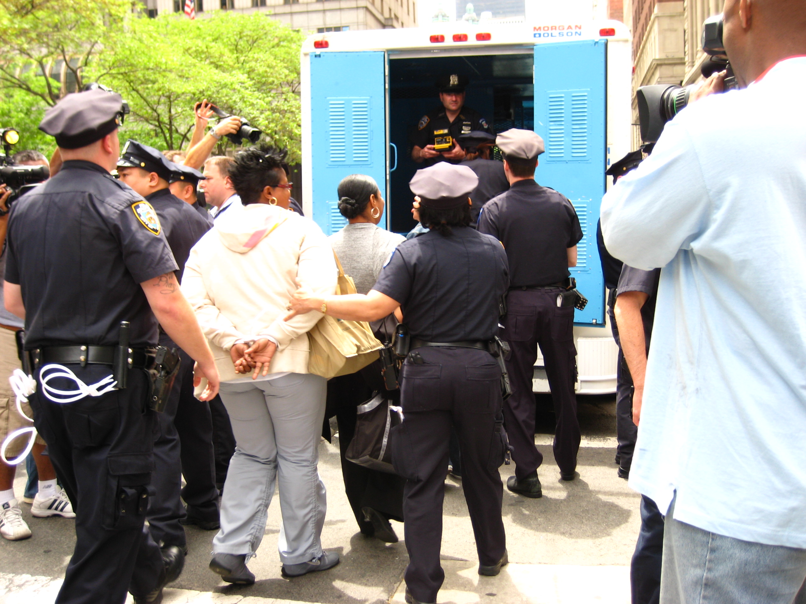 Immigration Activists Arrested at a Protest in New York City. Photo by Norman Eng