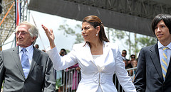 Costa Rican President Laura Chinchilla with her husband and son at her inauguration on Saturday.