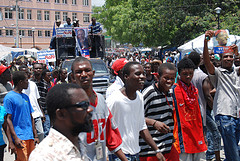 Protesters marched toward Haiti's National Palace on Monday.