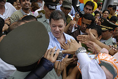 Colombian presidential candidate Juan Manuel Santos on the campaign trail in Ibagué, May 17.