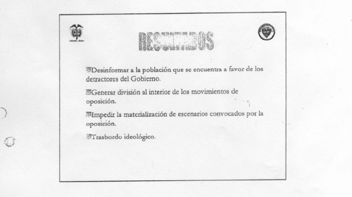 A document produced by Colombia's Department of Administrative Security discussing a plan to disinform the public.