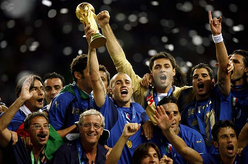 Defending champs Italy hoisted the cup in 2006. Photo by trumpetflickr @Flickr.