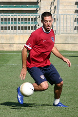 U.S. player Clint Dempsey at practice. Photo by wjarrettc @ Flickr.