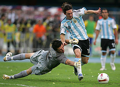Lionel Messi during the 2007 Copa América. Photo by Cpozo at Flickr.