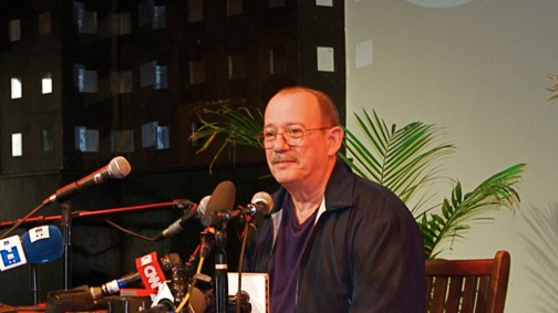 Cuban folk legend Silvio Rodriguez during a press conference at New York's Sounds of Brazil Club. Photo by Andrew O'Reilly.