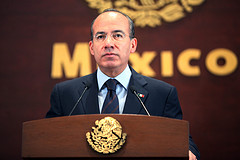 Mexican President Felipe Calderón discussed organized crime at a press conference on Tuesday.