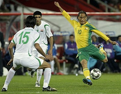 South Africa's Steven Pienaar taking a shot against Iraq at the 2009 Confederations Cup in Johannesburg, South Africa. Photo by drk.rbt @ Flickr