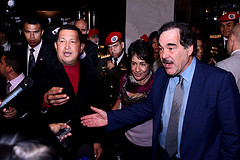 "Venezuelan President Hugo Chávez and director Oliver Stone at the Venezuela premiere of ""South of the Border"" last week."