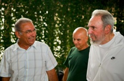 Former Cuban leader Fidel Castro visited the National Center of Scientific Research on Wednesday. Photo by Alex Castro.