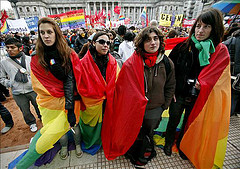 Supporters of the new law legalizing gay marriage demonstrated in front of Argentina´s Congress on Tuesday.