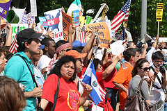 People protesting for immigration reform during a rally in Washington D.C.