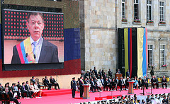 Juan Manuel Santos was inaugurated as Colombia's president on Saturday.