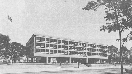 The U.S. Embassy in Montevideo after its inauguration in 1969.