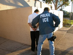 An Immigration and Customs Enforcement officers makes an arrest.