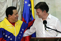 Venezuelan President Hugo Chávez met with Colombian President Juan Manuel Santos on Tuesday.