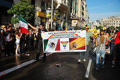 A protest in Madrid in support of Mexico City's gay marriage law.