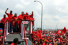 Venezuelan President Hugo Chávez at a rally on Thursday.