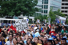 Protesters marched in support of the DREAM Act in Washington in June 2009.