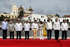 Latin American leaders gathered in Cartagena Tuesday.