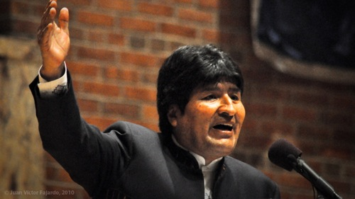 Bolivian President Evo Morales spoke at Hunter College in New York City. Photo by Juan Víctor Fajardo.