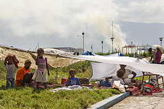 A family in Cité Soleil takes shelter in a makeshift tent city after the Jan. 12 earthquake.