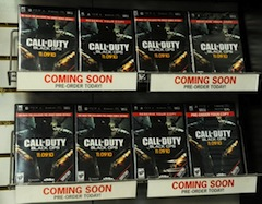 "A stand selling copies of ""Call of Duty: Black Ops."""