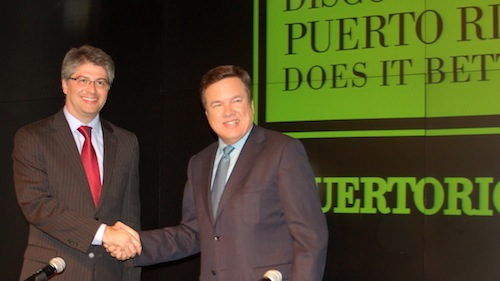 Mario Gonzales-Lafuente and Kenneth McClintock at the launch of a campaign to boost tourism in Puerto Rico.