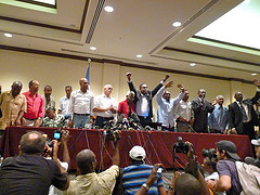 Haitian presidential candidates at a press conference on Nov. 28.