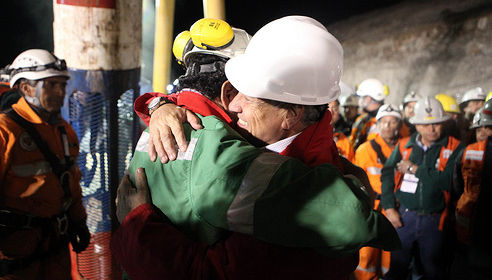 Chilean President Sebastián Piñera at the site of the 33 miners' rescue.