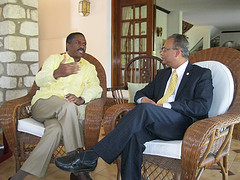 Haitian presidential candidate Jude Celestin spoke to OAS Assistant Secretary General Albert Ramdin in December.