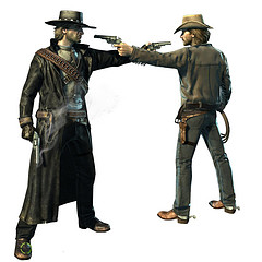 "An image from the videogame ""Call of Juarez."""
