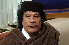 Libyian leader Muomar Gaffafi.