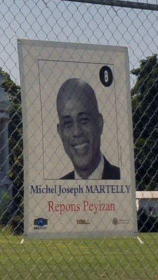 A poster for Haitian presidential candidate Michel Martelly.