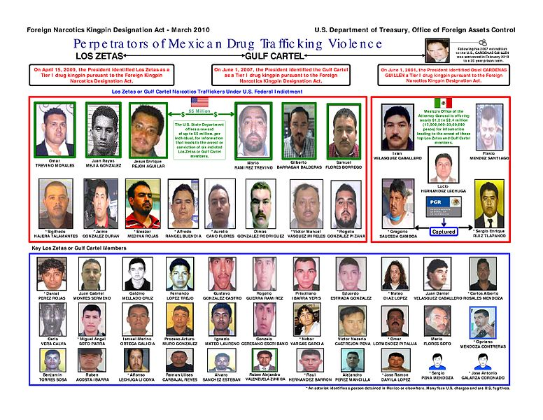 Alleged members of the Zetas gang and the Gulf Cartel