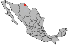 The location of the town of Praxedis G Guerrero in Northern Mexico.