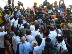Haitian President-Elect Michel Martelly taking questions from the press. Photo by mediahacker.