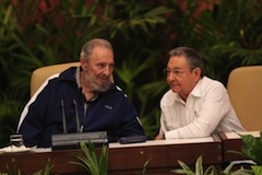 Fidel and Raúl Castro at the closing of Cuba's Communist Party Congress. Photo by Ismael Rodríguez.
