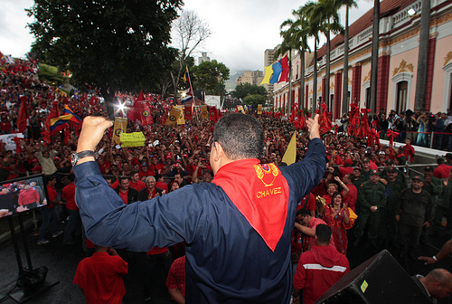 Venezuelan President Hugo Chávez greets his supporters. Photo by chavezcandanga.